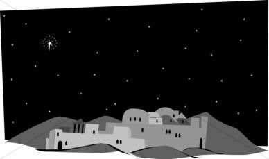 Bethlehem clipart scenery. Black and white nativity