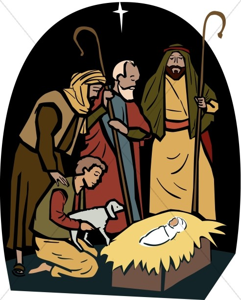 The shepherds visit manger. Nativity clipart shepards