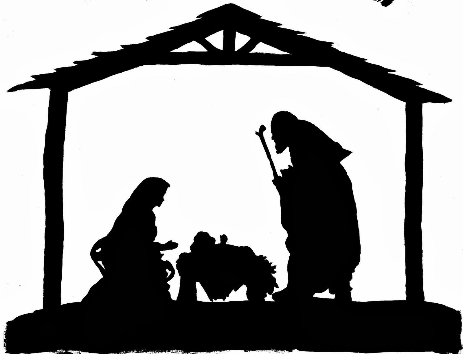 Nativity scene silhouette clip. Bethlehem clipart stable