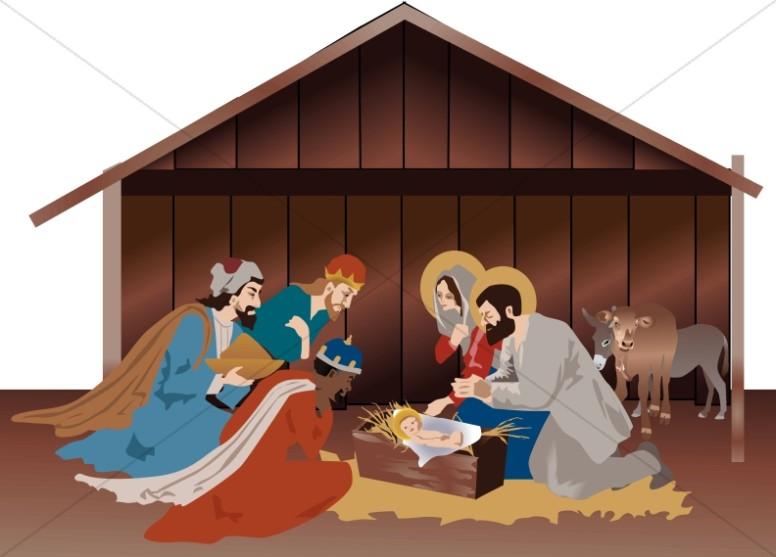 Bethlehem clipart stable. Nativity scene in the