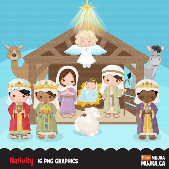 Nativity cute religious illustration. Bethlehem clipart stable