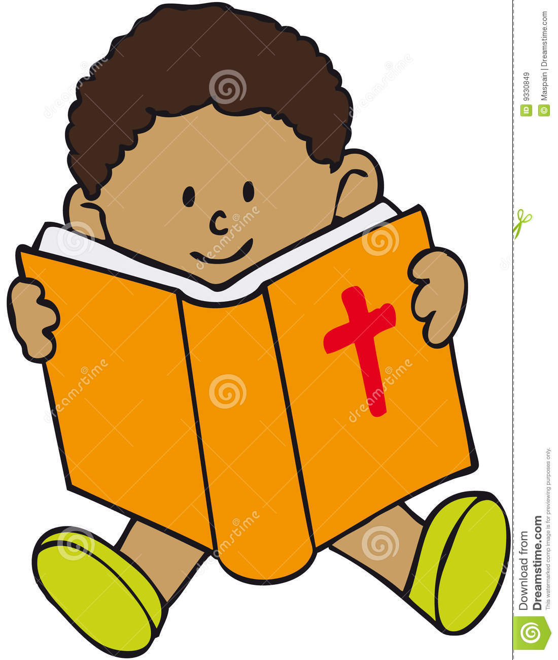 Children reading the panda. Clipart bible