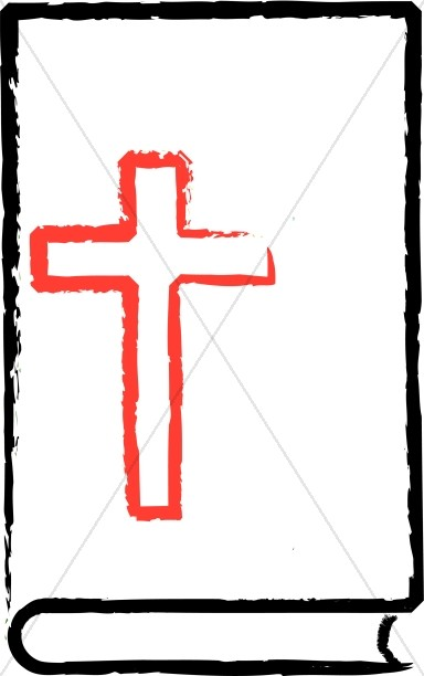 Red cross on black. Bible clipart outline