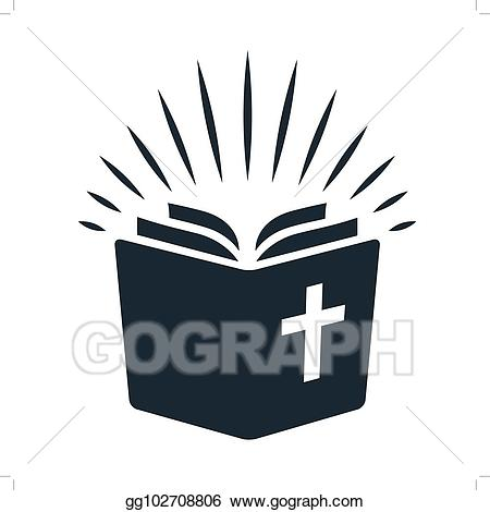 Vector art icon open. Bible clipart simple