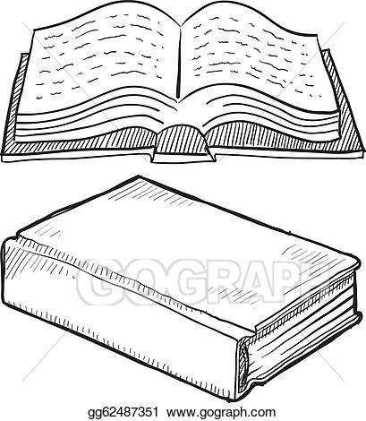 Vector book or illustration. Bible clipart sketch