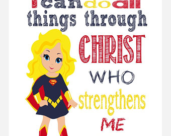 Bible clipart superhero. Supergirl christian nursery art