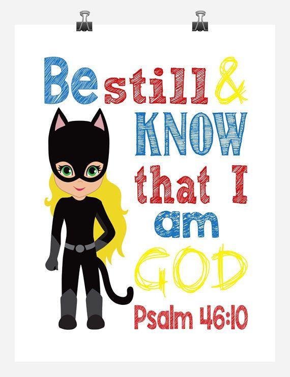Catgirl christian nursery art. Bible clipart superhero