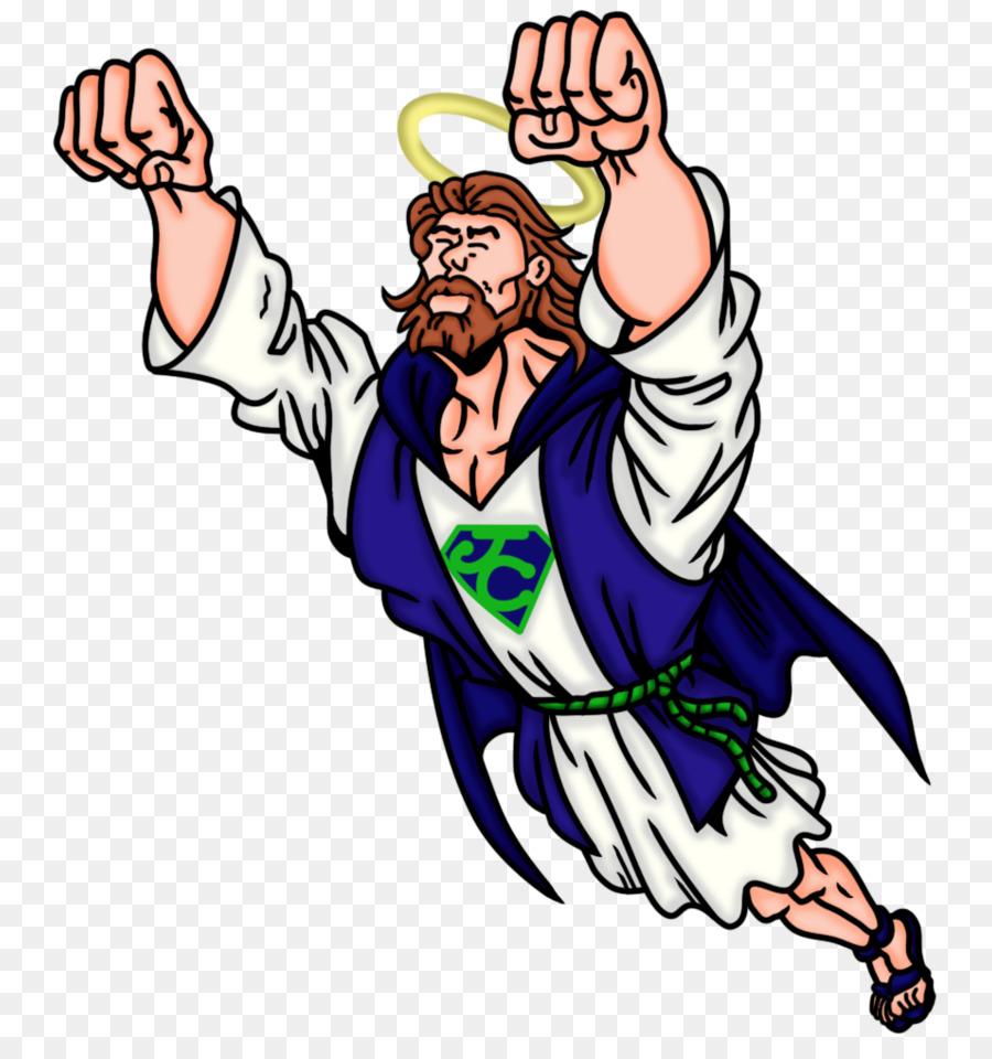 Clipart bible superhero. Jesus cartoon hand transparent