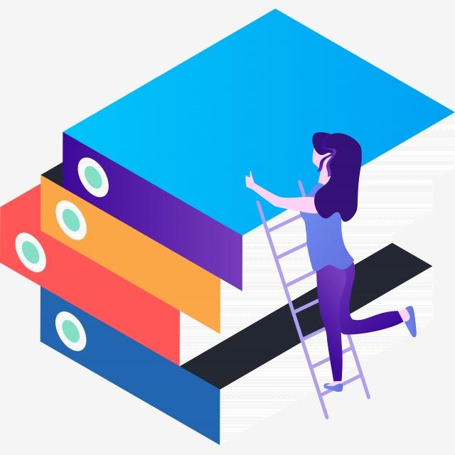 Bibliography clipart cool book. Girl climbing a ladder