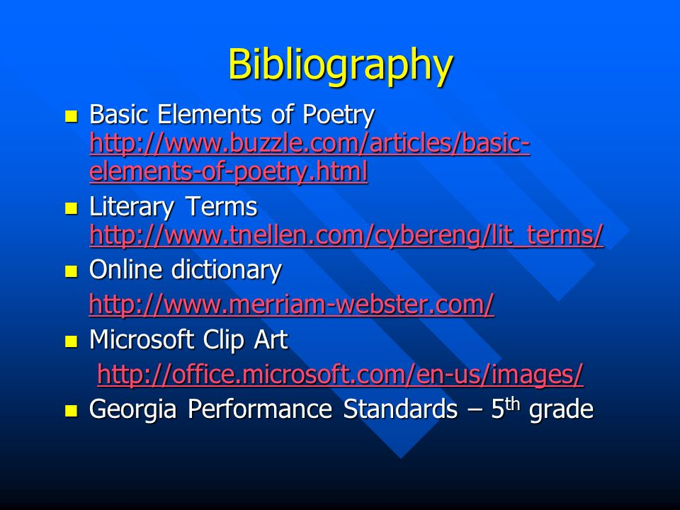 Elements of poetry ppt. Bibliography clipart dictionary