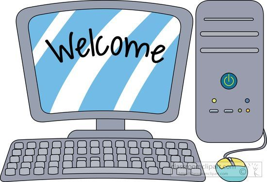 Desktop computer with welcome. Computers clipart
