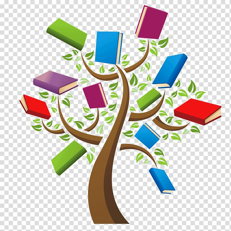 Multicolored book family tree. Bibliography clipart library computer
