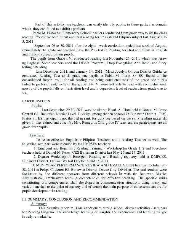 Bibliography clipart narrative report. Summary