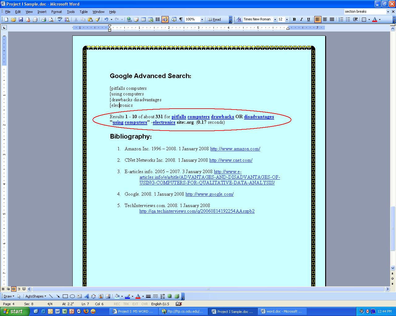 Bibliography clipart search engine. Project i ms word