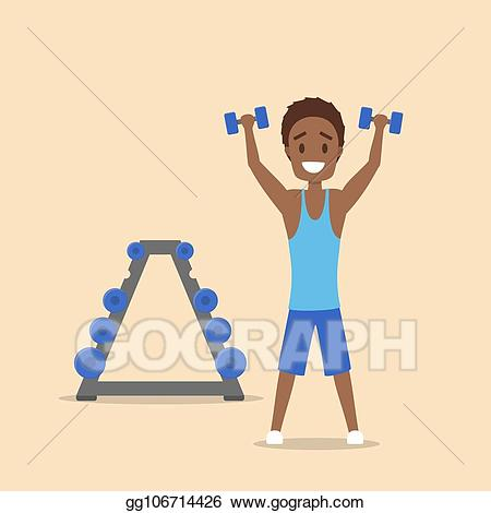 Dumbbell clipart arm workout. Vector stock man training