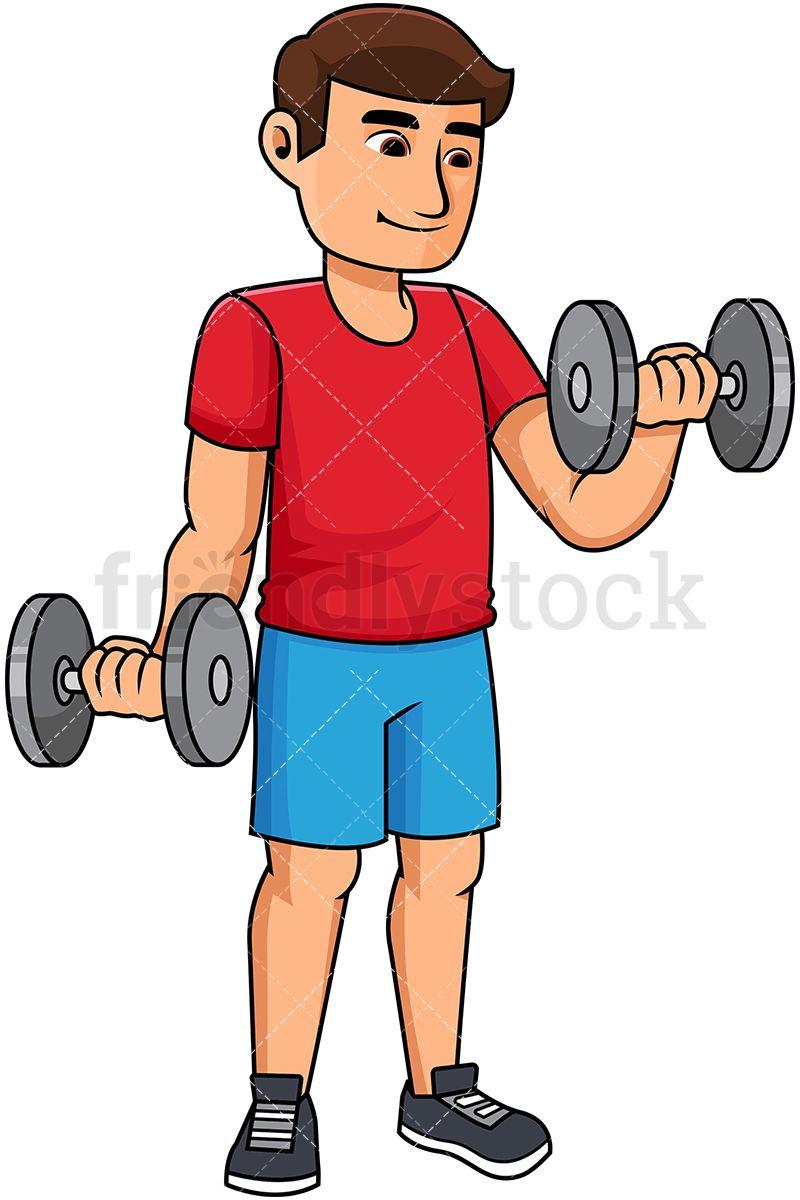 Man lifting dumbbells cartoon. Fitness clipart hand weight