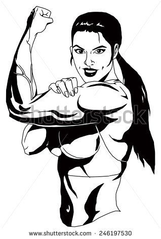 Bicep clipart female. Strong girl shows biceps