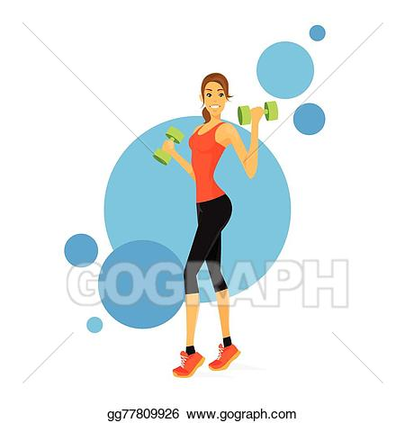 Vector stock sport woman. Bicep clipart fitness