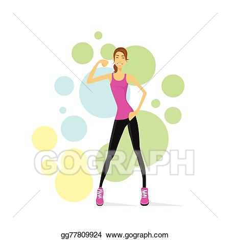 Bicep clipart fitness. Vector stock sport woman