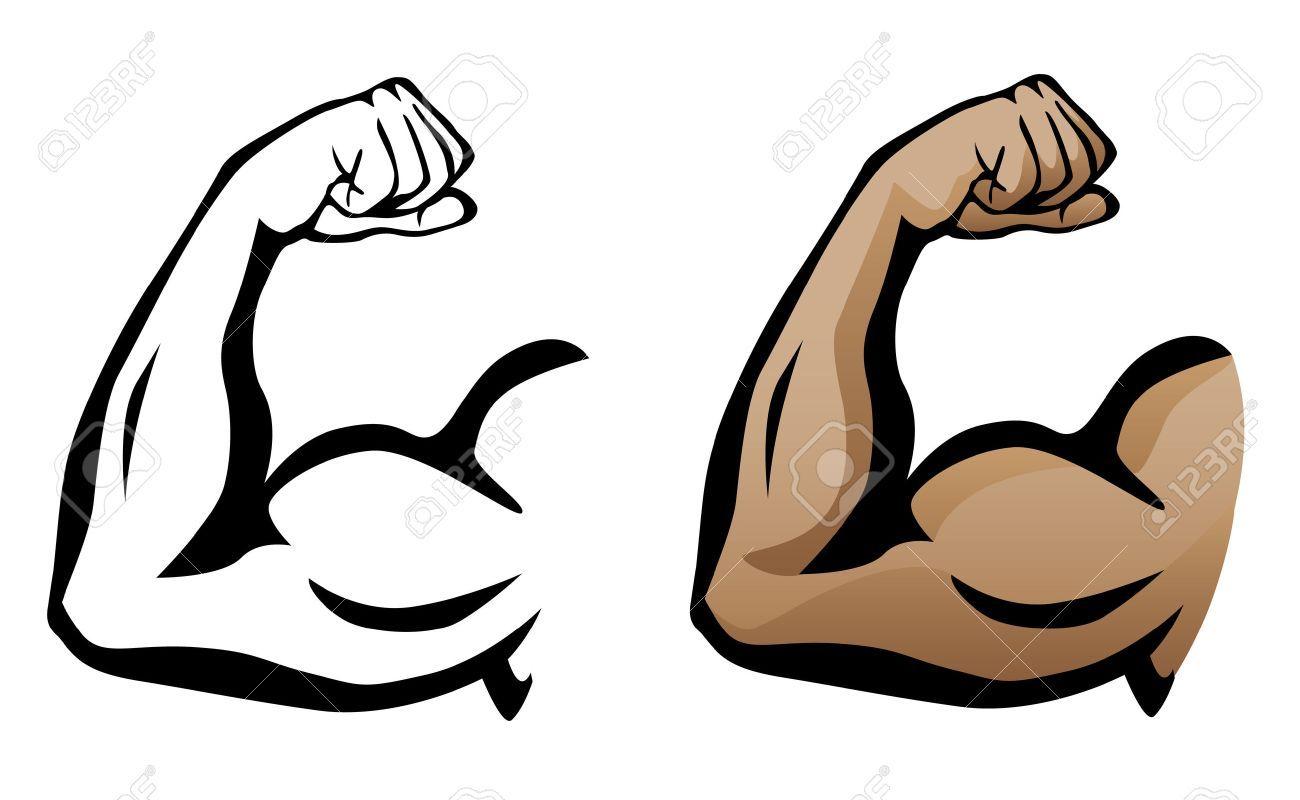 Cartoon arm muscular flexing. Bicep clipart muscle hand