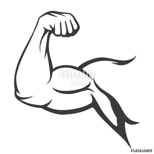Bodybuilder muscle flex arm. Bicep clipart musle