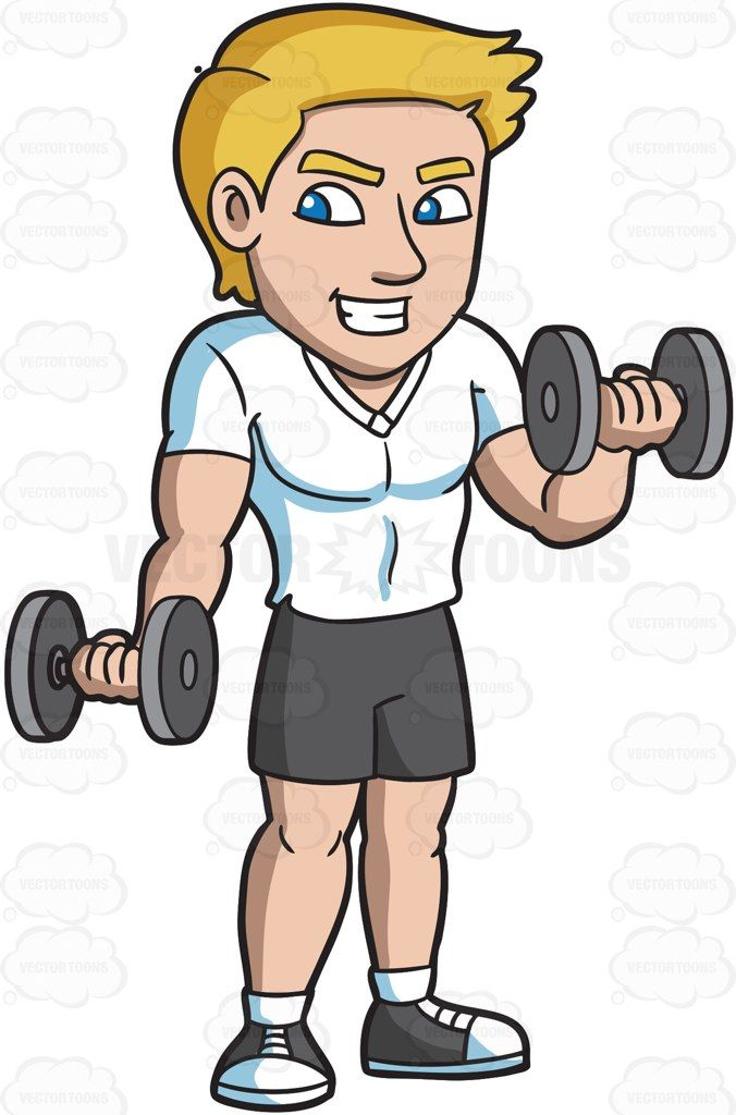 A man working out. Bicep clipart physical wellness
