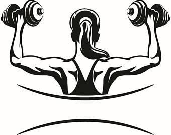 Barbell clipart female. Bodybuilding logo bodybuilder flex