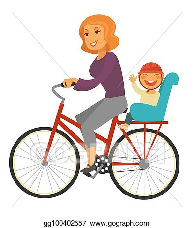 Vector mother rides with. Bicycle clipart baby