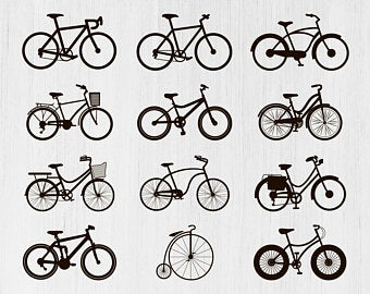 Bicycle clipart bicicle. Silhouette etsy