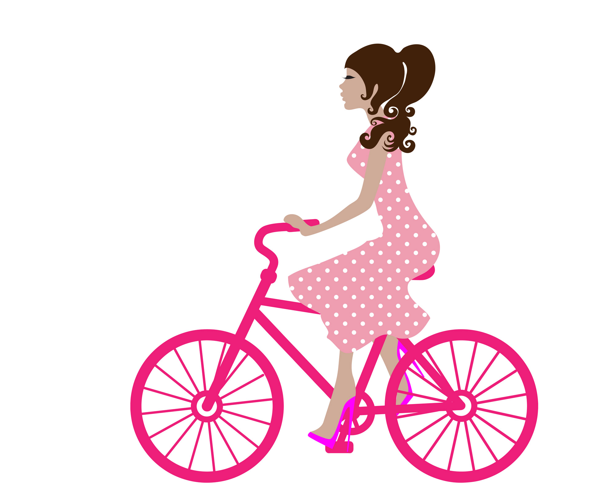 Biking clipart bycycle. Girl on bike free
