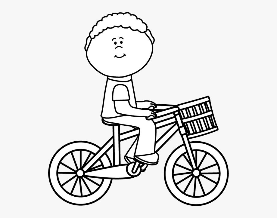 Biking clipart black and white. Amp boy riding a