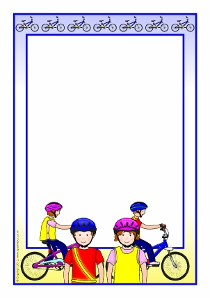 Bike clipart border. Cycling proficiency safety printable