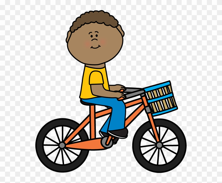 Boy riding a bicycle. Biking clipart bycycle