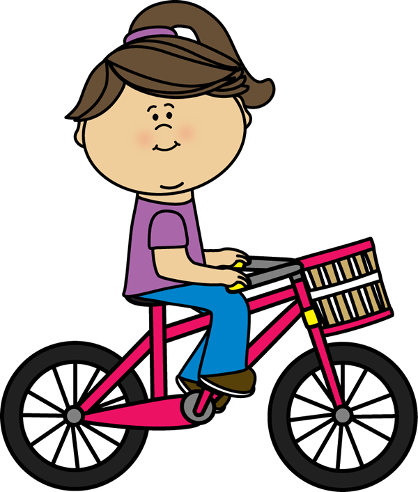Cycle clipart child. Girl riding a bicycle