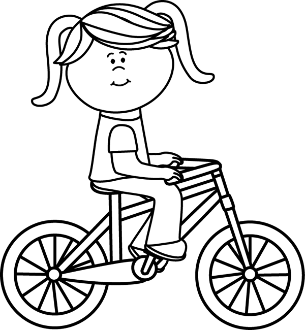 Girl riding a bicycle. White clipart black and white