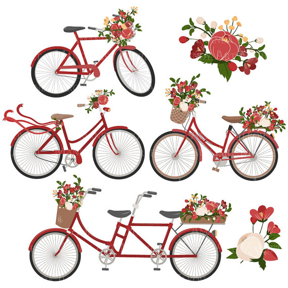 Bicycle clipart christmas. Emma floral vectors in