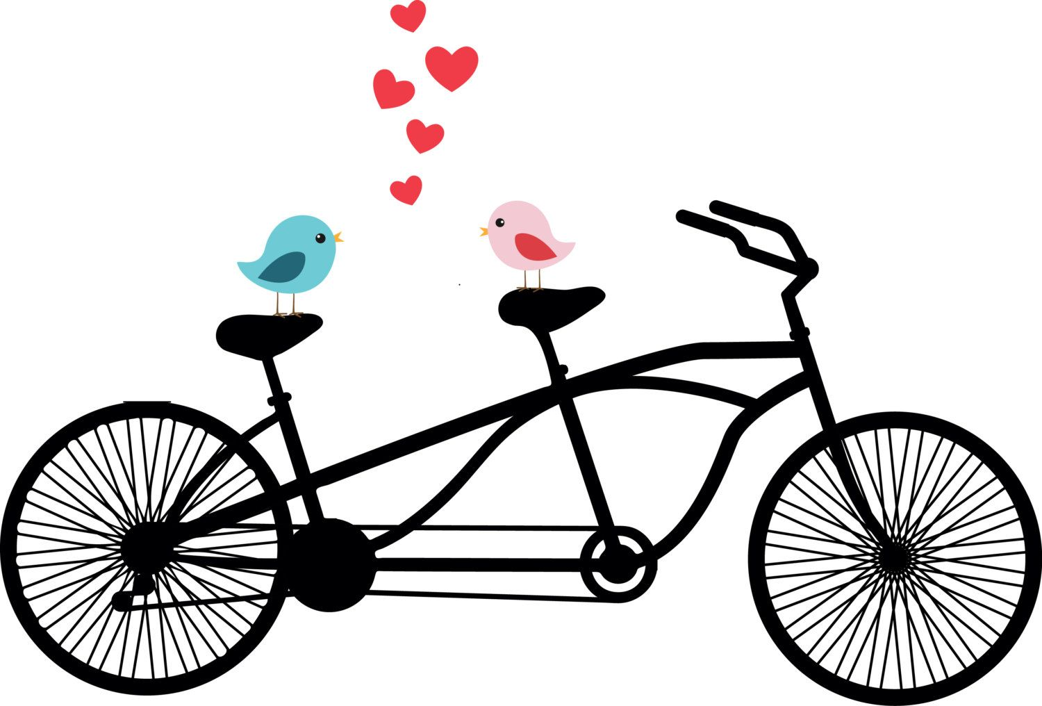 Tandem bicycle love birds. Clipart bike wedding