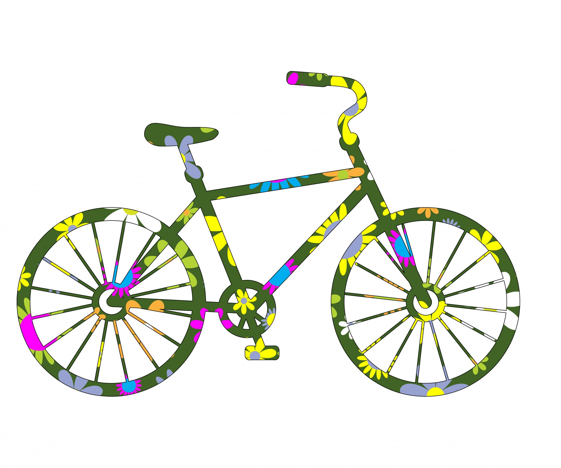 Bike clipart floral. Bicycle colorful pencil and