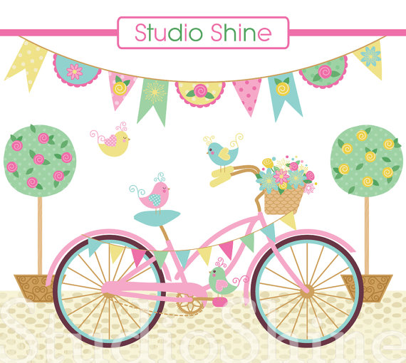 Bicycle clipart cute. Digital lovely day for