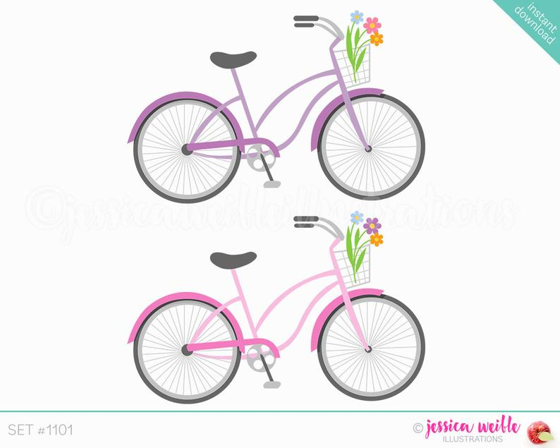 Instant download beach cruiser. Bicycle clipart cute