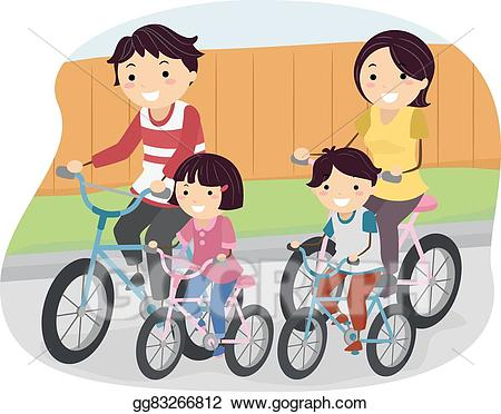 Eps vector stickman bike. Clipart bicycle family