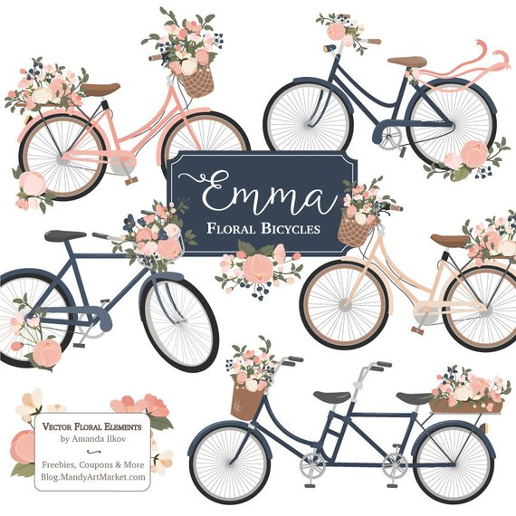 Emma vectors in navy. Bicycle clipart floral