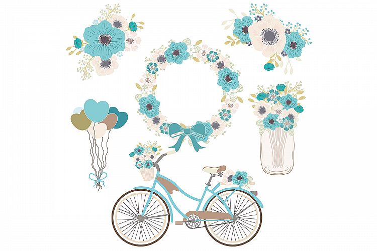 Vector blue bicycle . Bike clipart floral