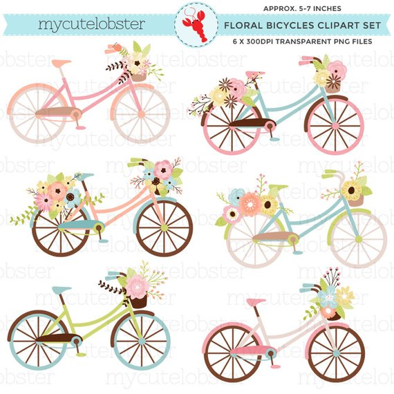 Floral bicycles set flowers. Clipart bike rustic