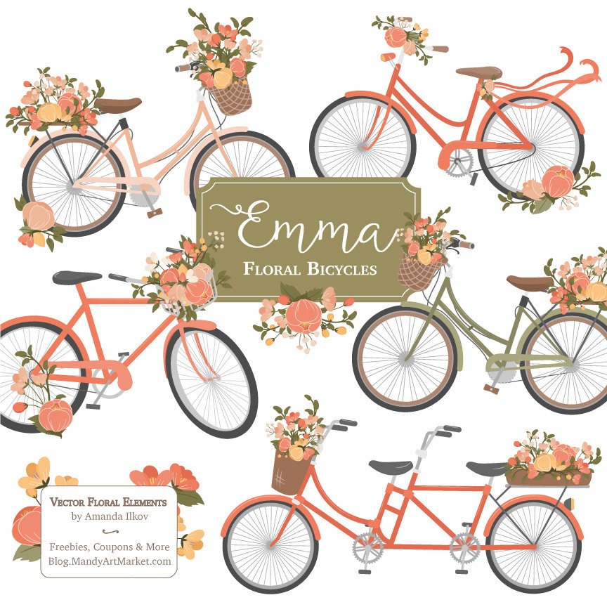 Emma vectors in antique. Bicycle clipart floral
