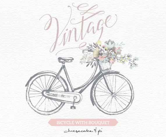 Biking clipart wedding. Vintage bicycle with floral