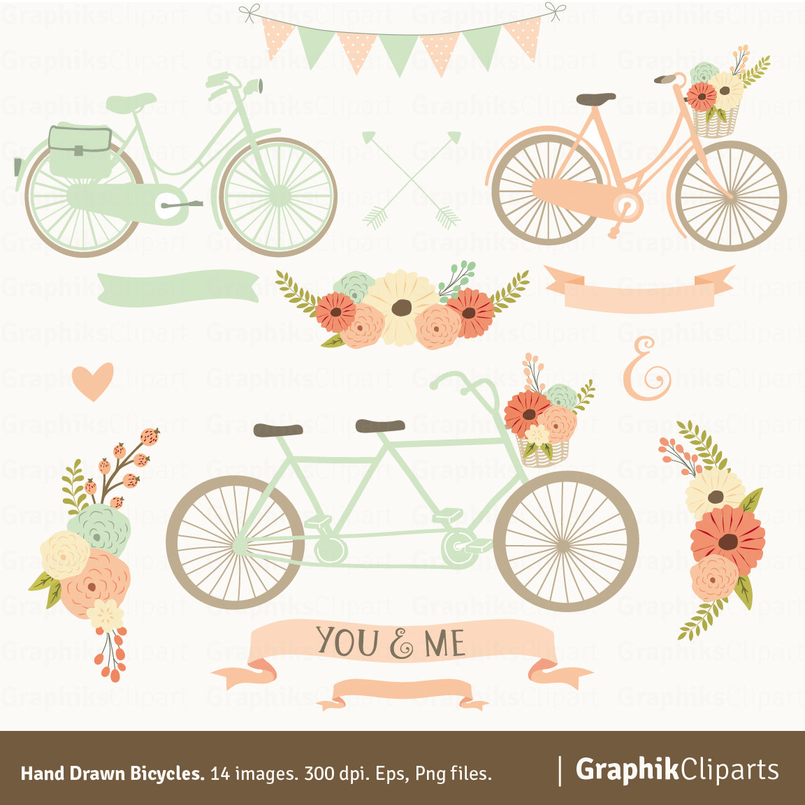 Bike clipart floral. Hand drawn bicycles tandem