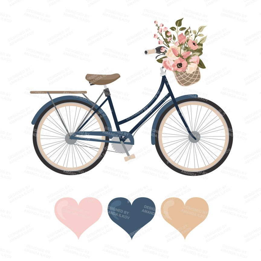 Bicycle set in navy. Bike clipart floral