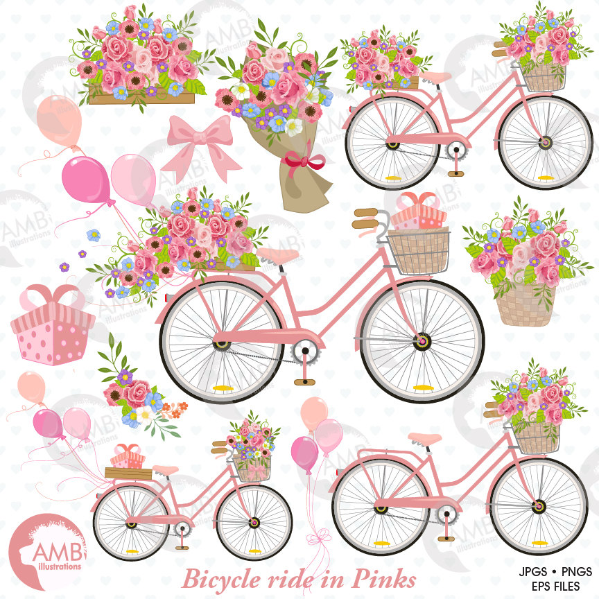 Combo and digital papers. Bicycle clipart floral