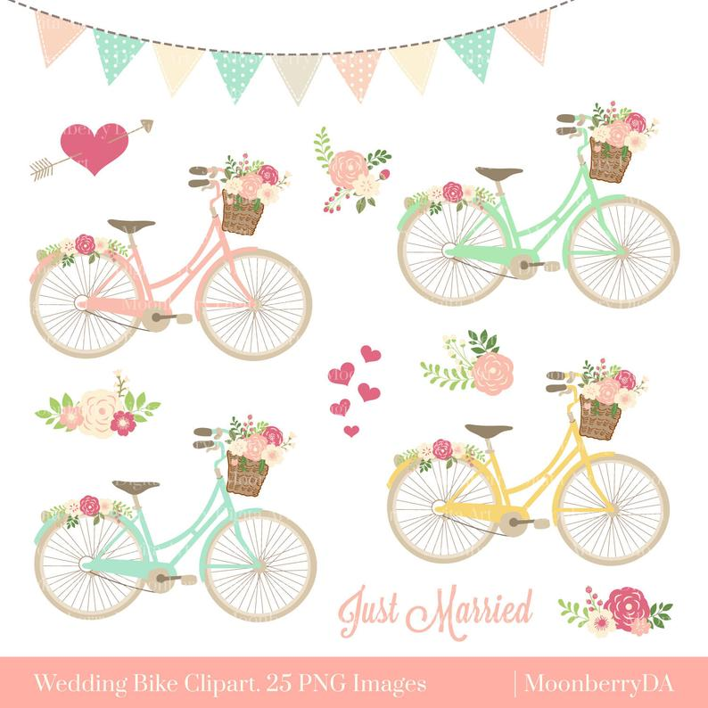 Bike clipart floral. Bicycle png wedding invitation